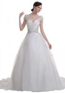 GEORGE BRIDE princess charming court train deep V-neck wedding dress
