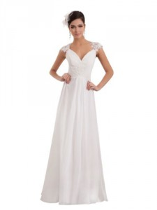 A-line V-neck Ruched Wedding Dress